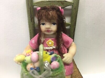 Miniature Girl Doll And Easter Basket, OOAK, Hand Sculpted, B Justice