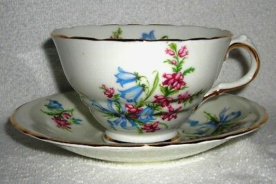 Vtg-HM Sutherland Bone China Made In England Blue & Pink Floral Tea Cup & Saucer