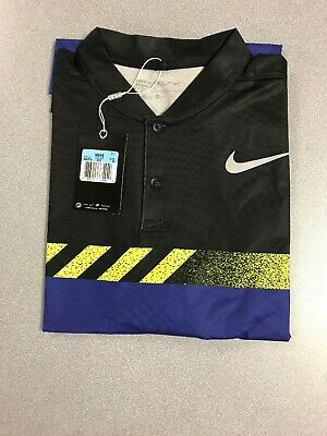 Brand New Nike Golf Shirt Modern Fit Blade Collar Size Medium Black/Yellow/Blue