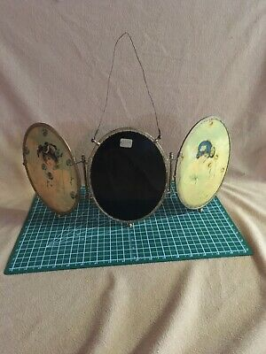Victorian Antique Three-Way Bevelled Oval Mirror Celluloid Print
