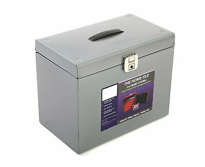 Pierre Henry Strong Metal File Box with 5 A4 Suspension Files- Lockable Portable