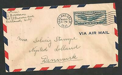 Censor Cover USA - Denmark 1941