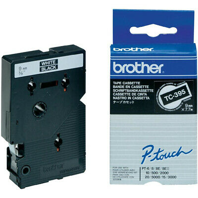 Brother TC395 Labelling Tape 9mm Labels Laminated - White on Black - 7.7