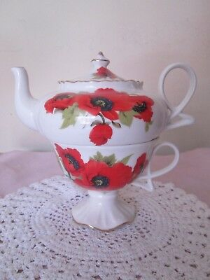 Grace's Teaware Red Poppy  Tea for One Set New