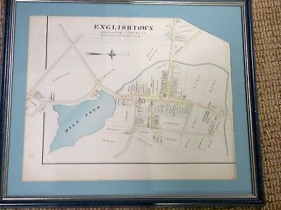 1889 Hand Colored Map Englishtown NJ from Wolverton Atlas Framed Matted