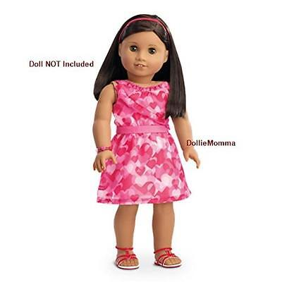 New American Girl Red Hearts Ruffle Outfit~Valentine Party Dress Bracelet ShipFR