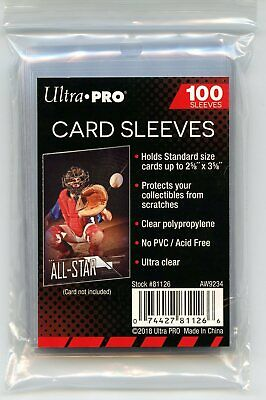 100 Ultra Pro Standard Soft Sports Card Sleeves Acid and PVC Free #81126