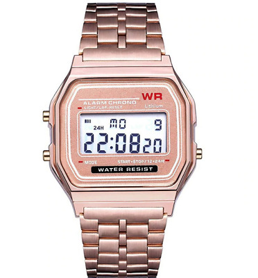 CASIO A158W-1 Unisex Classic Rose Gold Digital F91W Sport Watch WR 30M NEW 2019