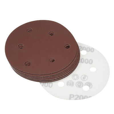 10Pcs 5 Inch 6 Hole Hook and Loop Sanding Disc 2000 Grits Flocking Sandpaper