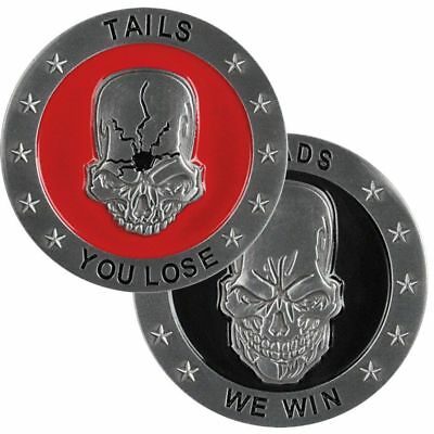 "Heads  We Win Tails You Lose Skull 1.75"" Challenge Coin"