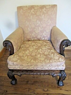 ANTIQUE CHIPPENDALE STYLE. 1900,S.  CHAIR /. 6 EAGLE HEADSxd