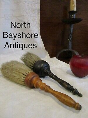 Antique 1800s New England Shaker Turned Oak Horse Hair Bristles Brushes aafa
