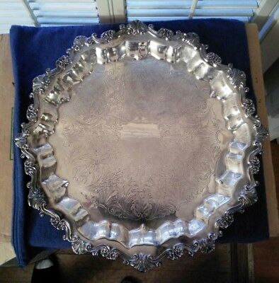 """Vintage Sheridan 17"""" Round Silver Pate Footed Serving Tray"""