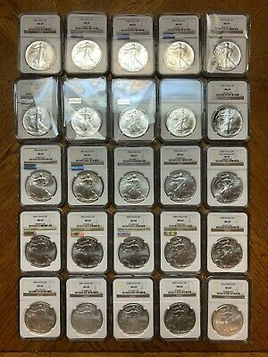(25 Piece Set) 1986-2010 1oz Silver American Eagles NGC MS69  K6565