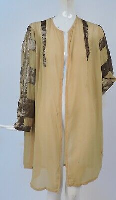 Antique 1920'S Sheer Yellow Silk Chiffon Jacket For Dress W Lame Stripes