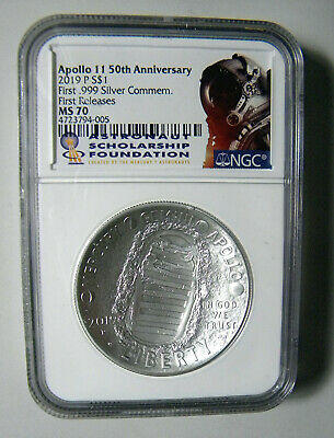 2019-P GEM BU $1 Apollo 11 50th Ann Silver Dollar NGC MS70 ASF FR Label COA Box