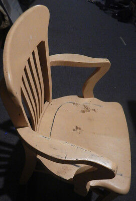 ANTIQUE wood chair solid wood painted muted yellow gold, comfortable and sturdy