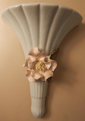 Wall pocket ceramic vintage flower mint green and pink 1950s to 1960s