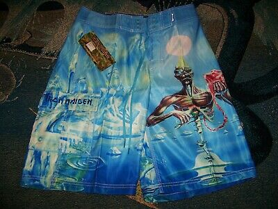 27fc0860a9e9d NEW NWT Vintage IRON MAIDEN SEVENTH SON OF A Dragonfly Surf Board Shorts 29  - 30
