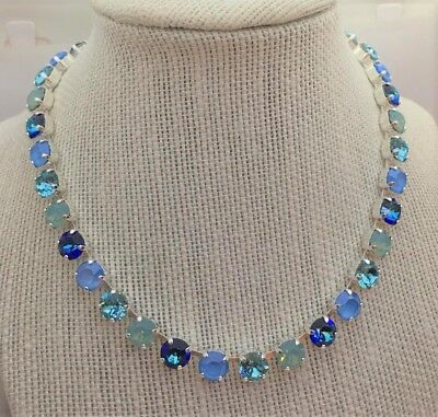 8mm Cup Chain Necklace Made W Genuine Swarovski Crystal  33 Stones