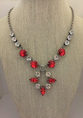 Antique Silver Plated Cup Chain Necklace With Swarovski Crystal Light Siam,Clear