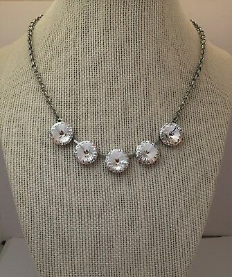 14mm Rivoli Antique Silver Plated Cup Chain Necklace With  Swarovski Crystal