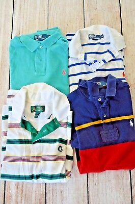 Ralph Lauren Brooks Brothers Polo Shirt Mens Medium Stripes Short Sleeve 4pc set