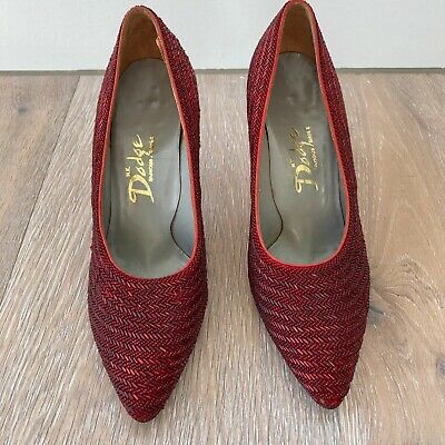 Red Beaded Womens Vintage Shoes 1950's