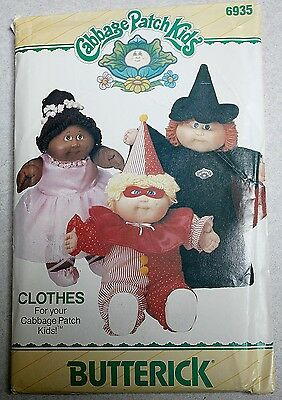 NEW Vintage BUTTERICK Cabbage Patch Kids Halloween Costumes / Doll Clothes 1984