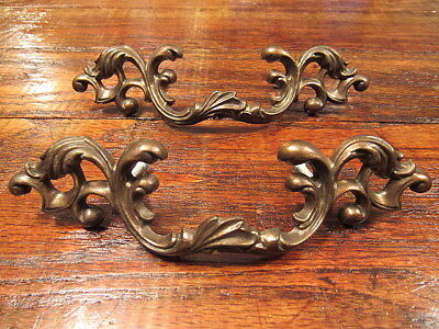 2 Vintage Ornate Brass French Provincial Victorian Drawer Pulls Handles