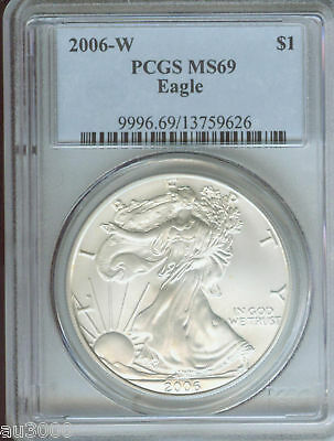 2006-W BURNISHED American Silver Eagle ASE S$1 PCGS MS69 MS-69