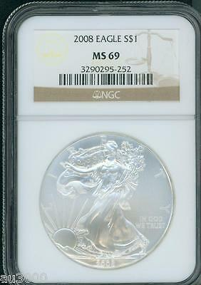 2008 American Silver Eagle ASE S$1 NGC MS69 MS-69 BEAUTIFUL Premium Quality P.Q.