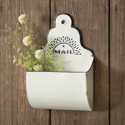 CHIPPY MAIL BIN Caddy White Distressed Wall Mount Storage Farmhouse Shabby