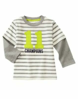 Gymboree Star Brights Grey Striped Champions Tee Shirt Top Boys 2T NEW NWT