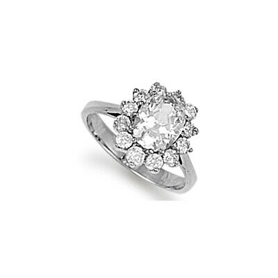 Rhodium Coated Sterling Silver Cubic Zirconia Classic oval cluster Ring