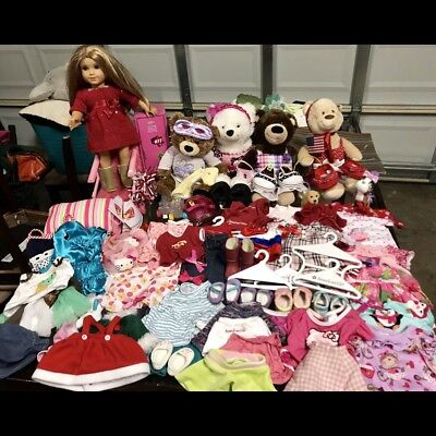 American Girl Doll & 4 Build a Bears with Accessories Lot & Clothes