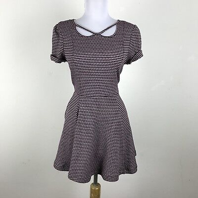 9994b6a5bd Free People Beach Dress Size XS Striped Black Purple Mini Polyester Skater