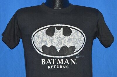vtg 90s BATMAN RETURNS BAT SIGNAL BLACK WHITE DEADSTOCK t-shirt YOUTH XL YXL