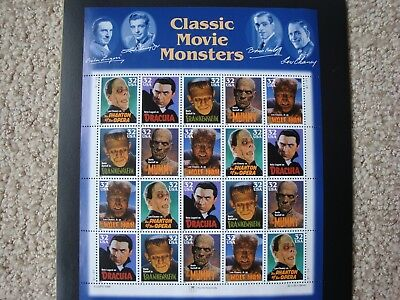 CLASSIC MOVIE MONSTERS Sheet of 20 - 32¢ Stamps #3168-#3172 USPS 1997 and Folder