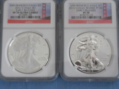 2012 US Mint American Eagle San Francisco 3 Coin Silver PF 70 & MS NGC Set