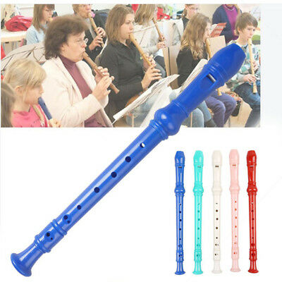 Soprano Recorder Long Flute 8 Holes Musical Instrument w/ Cleaning for Students