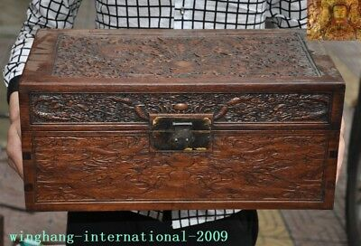 Old Chinese Rosewood Wood Carved Dragon Totem Treasure Boxes storage box Chest