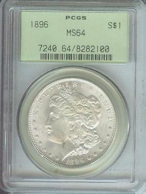 1896 ( 1896-P )  Morgan Silver Dollar S$1 Pcgs Ms64 Ms-64 Old Green Holder Ogh !