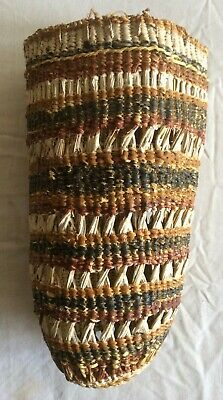Vintage Aboriginal handwoven dilly bag with natural ochres and bush twine handle