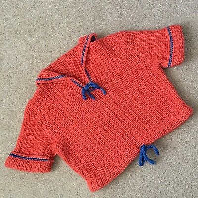 Vintage Hand Knit Nautical Sailor Style Sweater 1950s Girls Coral Royal Blue
