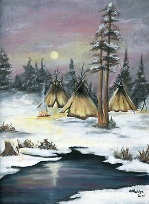 ACEO 2.5x3.5 Art Print of Original Acrylic Painting Indian Teepees Snow Trees