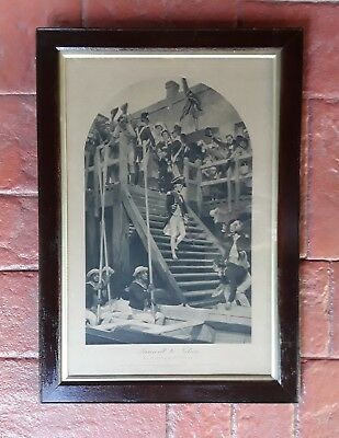 Antique framed military picture Nelson leaving England