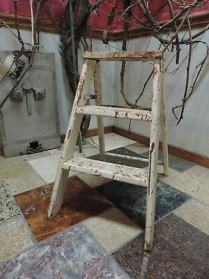 Small Antique Steampunk Primitive Wooden Iron 2 Step Ladder Plant Stand VTG