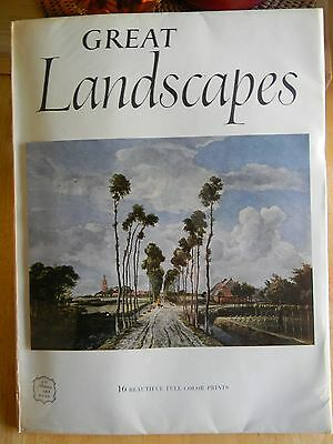 GREAT LANDSCAPES 1955 Vintage ABRAMS ART BOOK 16 Color Prints FREE SHIPPING