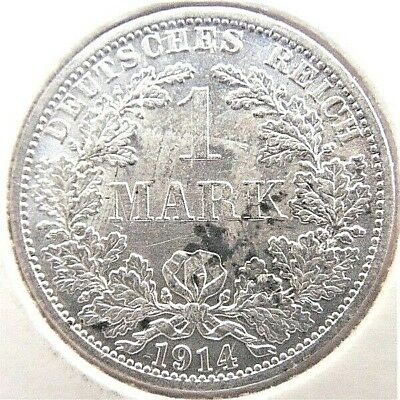 1914A GERMANY EMPIRE, 1 MARK, grading UNCIRCULATED. with spots..